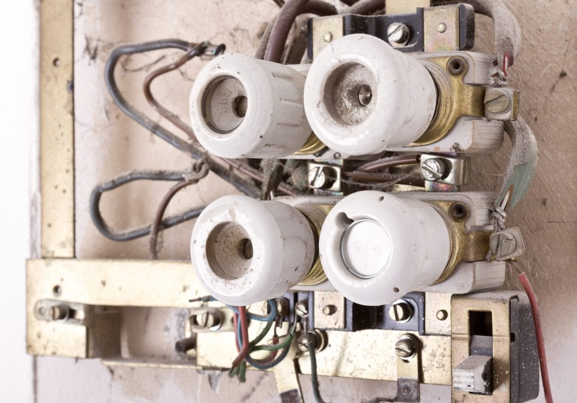 old electrical panel for knob and tube wiring